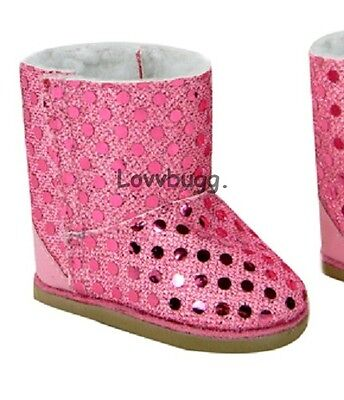 "Lovvbugg Pink Sequins Shearling Ewe Uggly Boots for 18"" American Girl or Bitty Baby Doll Shoes"