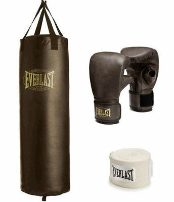 Everlast 100 lb Heavy Bag Boxing Kit Punching Bag Gloves Hand Wraps Training NEW