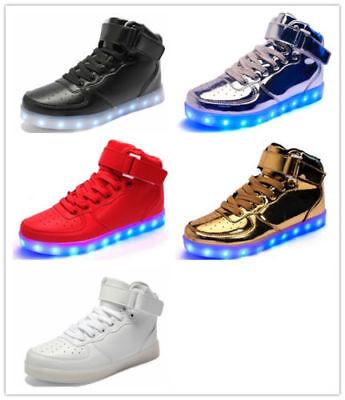 Hot Unisex 7 color LED Light Lace Up Luminous Sneaker Shoes USB High - Light Up Shoe