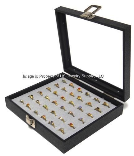 1 Wholesale Glass Top Lid Grey 36 Ring Display Portable Sales Storage Box Case