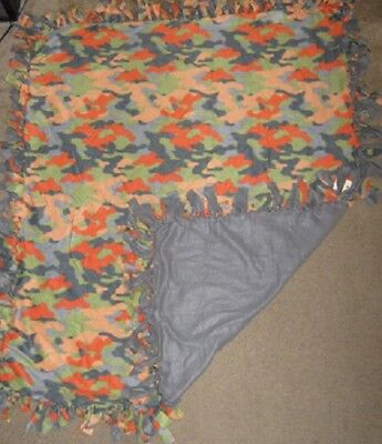 Cat/Dog Fleece Large Crate, Adult Cuddle Blanket - New - Homemade - Camo Print