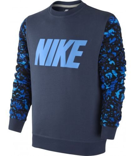 Mens Size Large Nike Navy Blue Camo Sleeves Sweatshirt Long Sleeve ...