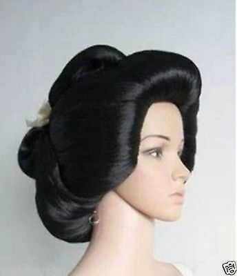 Hot sell   Black Geisha Wig Full Wigs Plate Hair Anime Wig Cosplay - Geisha Wigs