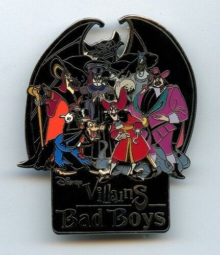 Disney Villains Bad Boys Chernabog Jafar Hades Frollo Ratcliffe Captain Hook Pin