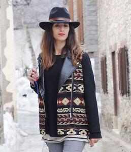 ZARA Aztec Combined Leather Wool Jacket Coat Biker Sold out Bloggers XS L - <span itemprop='availableAtOrFrom'>Kraków, Polska</span> - ZARA Aztec Combined Leather Wool Jacket Coat Biker Sold out Bloggers XS L - Kraków, Polska