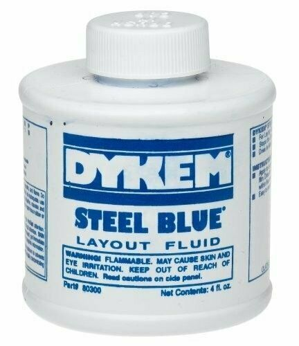 New DYKEM 80300 Steel Blue Layout Fluid Brush-in-Cap (4oz)