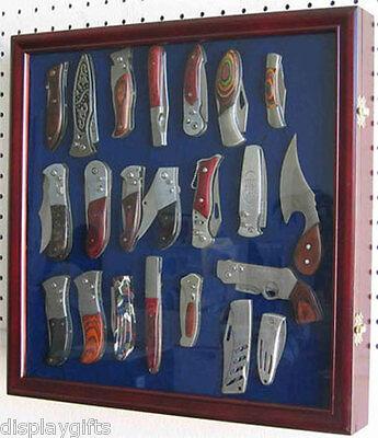 Knife Shadow Box / Display Case with glass door, Hangs Displ