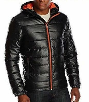 COLE HAAN Signature Black Faux Leather Quilted Puffer Coat Jacket New Mens (Cole Haan Mens Faux Leather Puffer Coat)