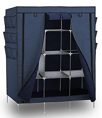 "69"" Portable Closet Storage Organizer Wardrobe Clothes Shoe Rack with Shelves US"