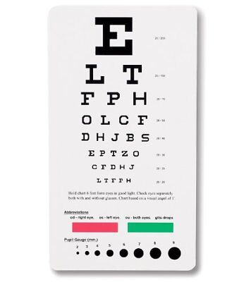 Pocket Sized Eye Chart Measuring Visual Acuity Snellen Device Vision Assessment
