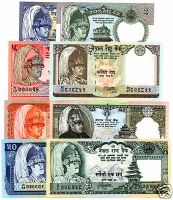 NEPAL- Rupees 1, 2, 5, 10, 20, 25, 50 & 100 King Birendra set of 8 Banknotes UNC