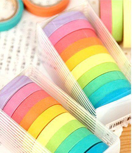 10 Pcs Writable Rolls Paper Washi Masking Tape Rainbow Sticky Adhesive US Adhesives & Tape