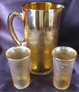 Marigold Carnival Glass Pitcher