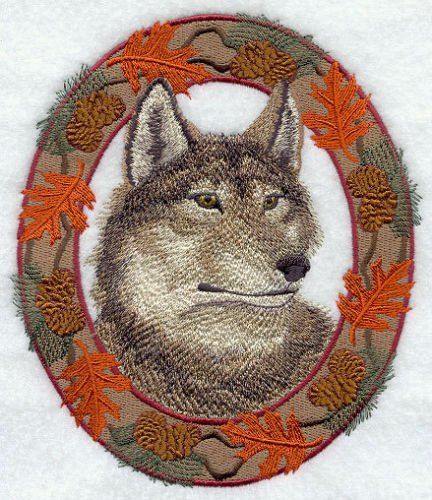 Embroidered Short-Sleeved T-Shirt - Wolf in Autumn Leaf Frame E7047