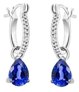 Fine Jewelry Blue Sapphire 10K Gold Rectangular Drop Earrings wCsiqcip
