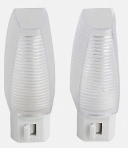 New 2 Pack of White LED Night Lights with On/Off Switch Bright White Light Nite