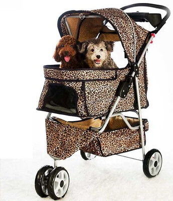 (New Extra Wide 3 Wheels Pet Cat Dog Stroller Travel Folding Carrier W/RainCover2)