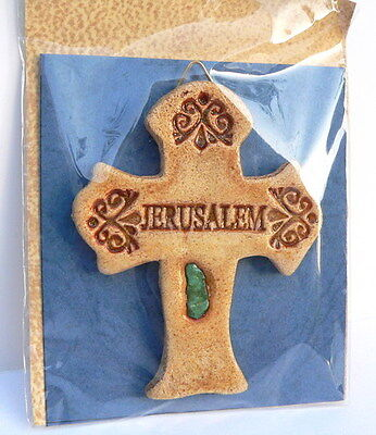 Jesus Cross Wall hanging Jerusalem Stone Sand Holy land,Christian Religious Gift