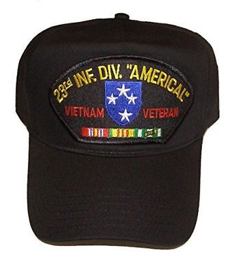 US ARMY 23RD INFANTRY DIVISION AMERICAL VIETNAM VETERAN W/ SERVICE RIBBONS HAT