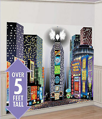 New Year Scene Setter (TIMES SQUARE HAPPY NEW YEAR Scene Setter party wall decor kit 5' NEW YORK)