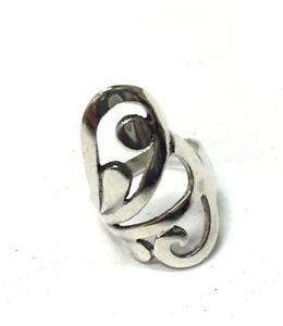 sterling silver designer index finger ring flower abstract