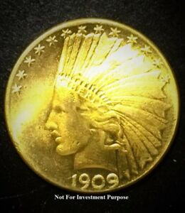 Replica 1909 Indian Head $10 Ten Dollar Eagle Gold Piece Coin Un
