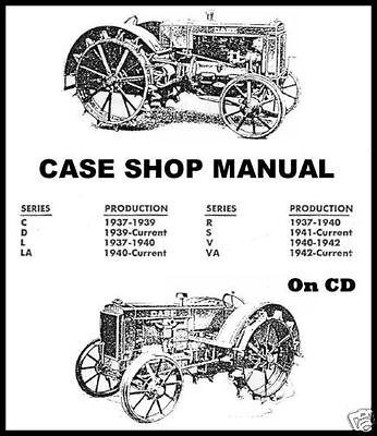 Ji Case Tractors C D L La R S V Va Rc Sc Vc Dc Vac Shop Service Repair Manual Cd