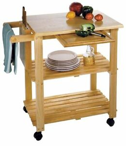kitchen prep table cart rolling wood storage shelves. Black Bedroom Furniture Sets. Home Design Ideas