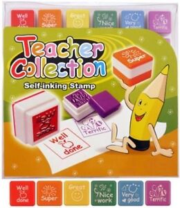 6 x Teacher Self Inking Reward Stamps Classroom Motivation Homework School