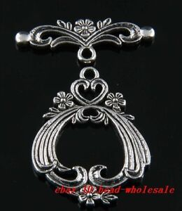 Free Shipping 2 Sets Beautiful Tibetan Silver Flower Toggle Clasps Hooks 38x29mm