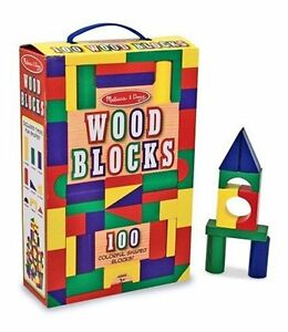 100 Piece Melissa & Doug Wooden Building Blocks Toy Set Classic Toys Kids NEW