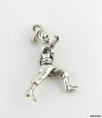 Football Player Charm - Sterling Silver 3D Figure 925 Sports -