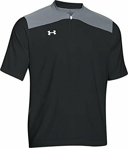 New Youth Under Armour UA Storm Triumph Cage Baseball Batting Jacket Black Gray