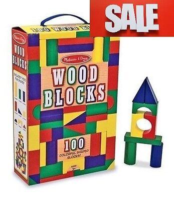 100 Piece Melissa & Doug Wooden Building Blocks Toy Set Classic Toys Kids NEW!!