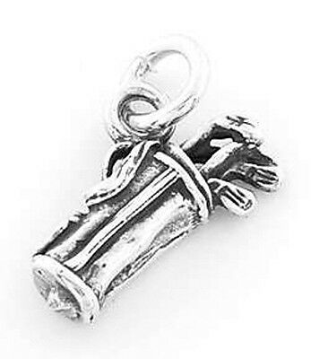STERLING SILVER GOLF BAG AND CLUBS CHARM PENDANT