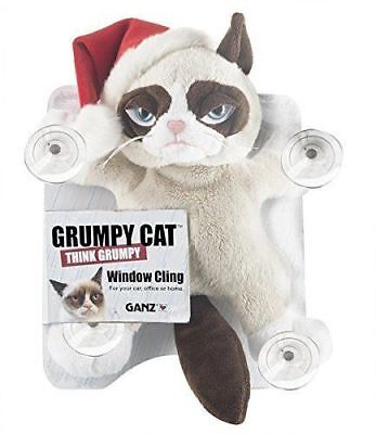 Ganz Grumpy Cat Window Cling with Santa Christmas Hat NEW w mfg tag  Great  Gift
