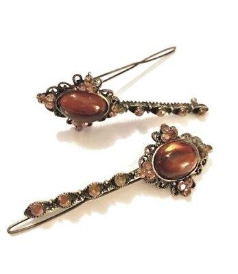 Antique Gemstone Hair Pin Barrette, Acrylic Oval Cabochons REVLON ()