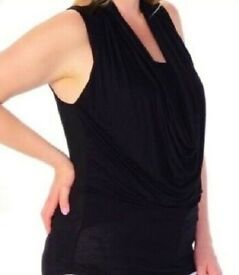 Ladies Black Sleeveless Draped Front Tank Tunic Top .Size 20/22. P&P INCLUDED!