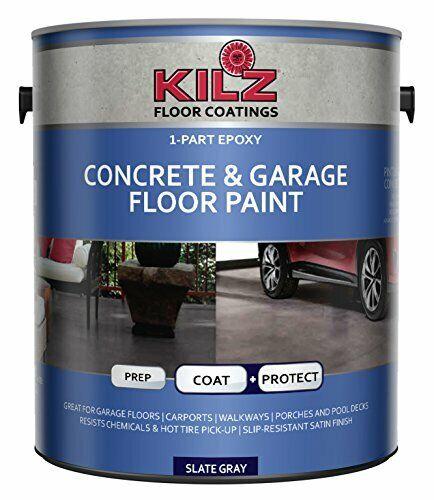 Non Cracking Coat Protect Acrylic Concrete Garage Floor Paint - Slate Gray 1gal