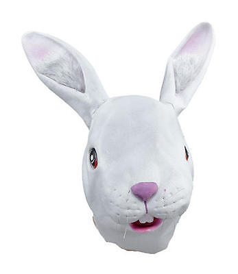 White Rabbit Overhead Rubber Mask Rabbits Head Fancy Dress Costume Outfit Prop (White Rabbit Head Costume)