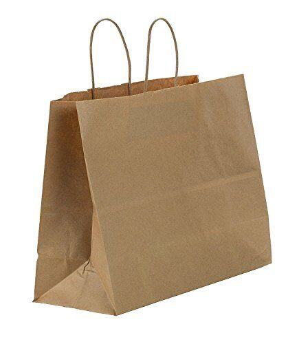 250pcs Kraft Shopping Bag  65# Natural Kraft Paper Shoppers, 16 x 6 x 12 1/2