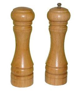 Salt-Pepper-Shaker-Mill-Grinder-Natural-Rubber-Wood-Wooden-Grind-8-Inch-Set-2