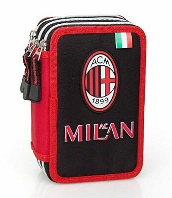 Astuccio Scuola AC MILAN 3 Zip COMPLETAMENTE accessoriato GIOTTO-FILA UFFICIALE