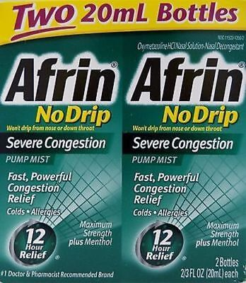 2pk Afrin No Drip Severe Congestion Pump Mist Nasal Spray 20ml (Severe Congestion)