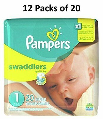 Pampers Swaddlers Size 1 (12 Packs of 20 = 240 count)