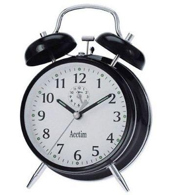 Acctim Keywound Saxon Black Alarm Clock Luminous Manual Old Style Traditional (Black Old Fashion Alarm Clock)