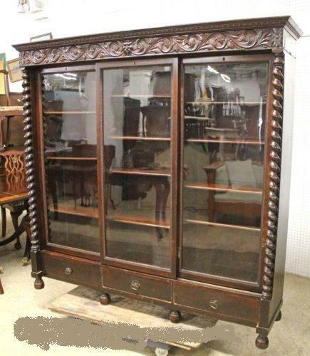 ANTIQUE BOOKCASE, 3 SLIDING DOORS, ORIGINAL KEYS,  MAHOGANY WITH LOTS OF CARVING