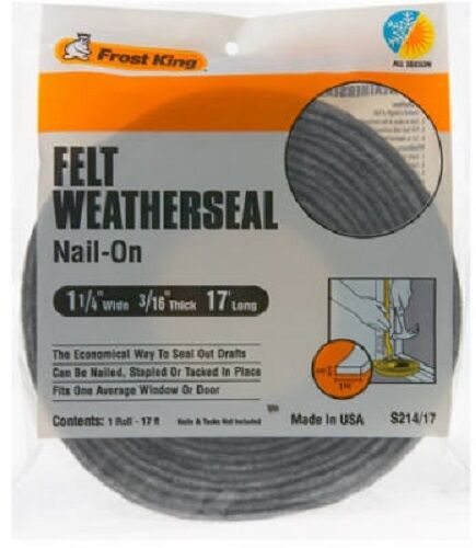 """Thermwell Frost King 1.25"""" x 3/16"""", 17' Multi-Purpose Felt Weather-Strip, 4 Pack"""