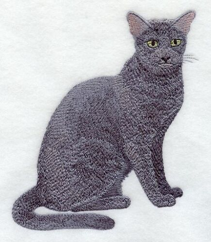 Large Embroidered Zippered Tote - Russian Blue Cat C7907