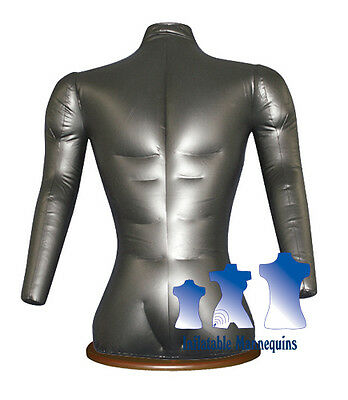 Inflatable Male Torso With Arms Silver And Wood Table Top Stand
